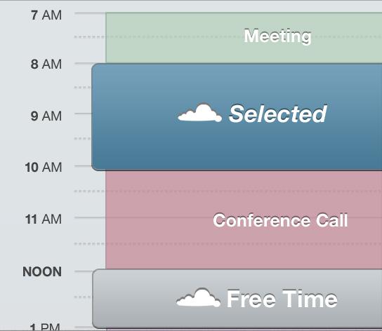 등록된 일정 사이 시간은 버튼이 되며, 캘린더 UI의 중요도를 떨어뜨리고 여유 시간에 중요도를 높이게 된다.