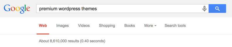 'premium wordpress themes' 구글 검색
