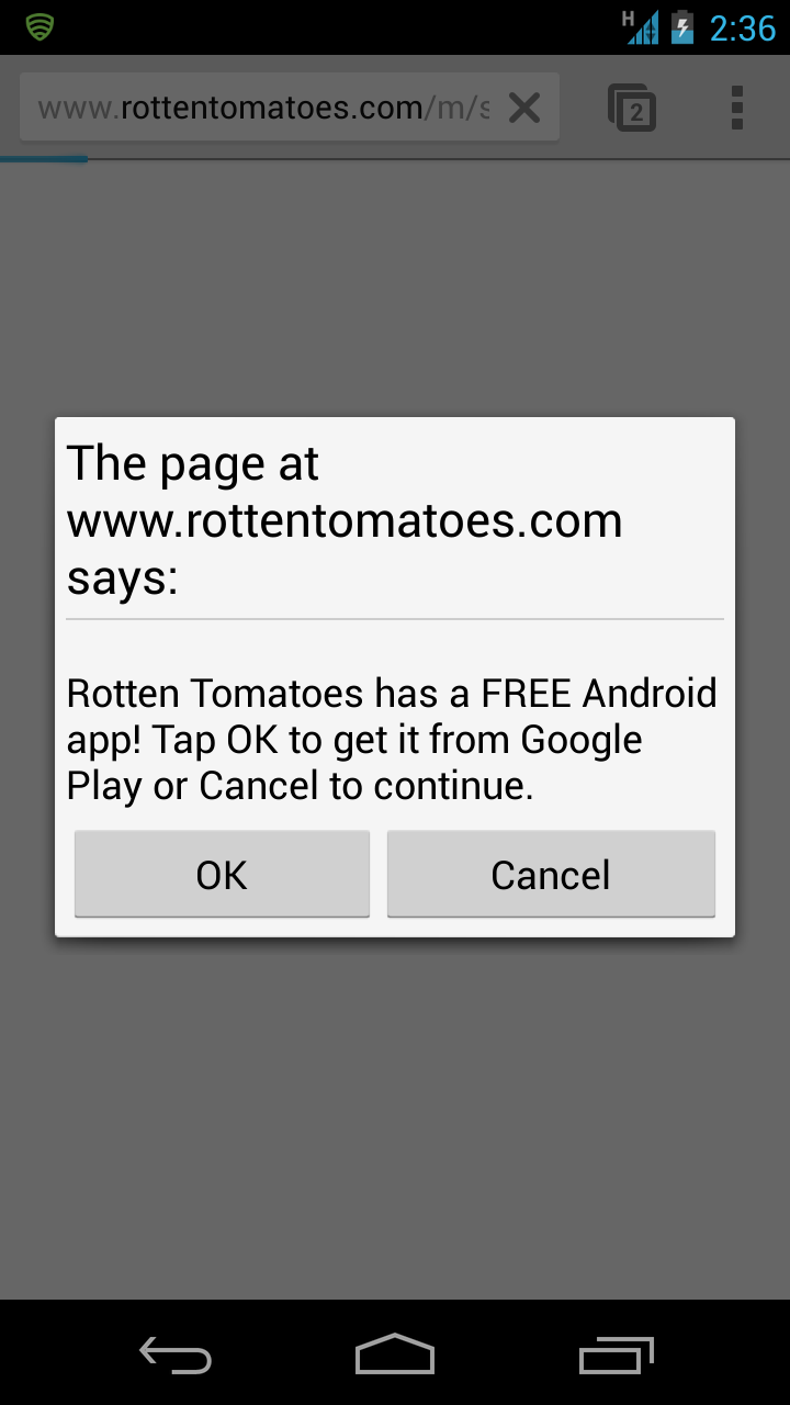 로튼 토마토 웹사이트에 접속한 스마트폰 사용자에게 보이는 앱 틈새 확인창(An app interstitial)