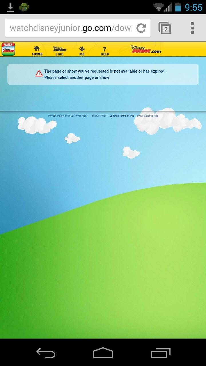 안드로이드 사용자가 홈 페이지에서 '디즈니 주니어 보기' 링크를 클릭하면 이 메시지 로그와 마주치게 된다.