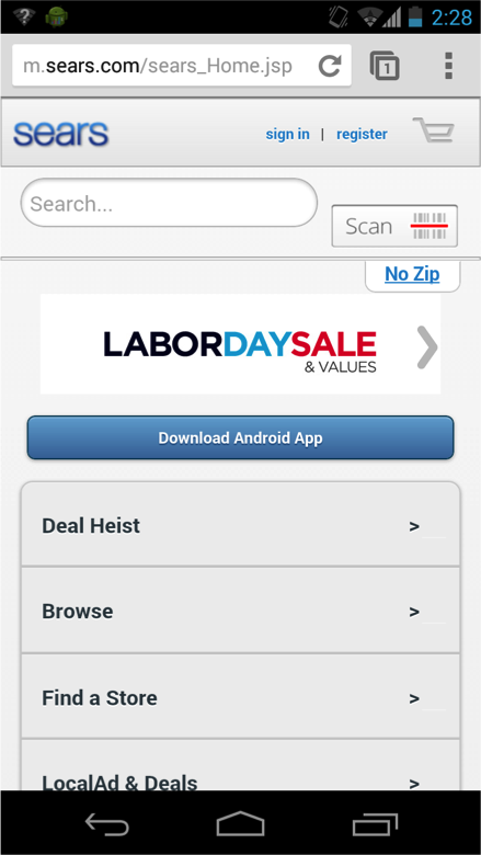 시어스의 모바일 웹사이트는 스마트폰 사용자가 시어스의 가격과 대조할 아이템을 살필 수 있게한다.