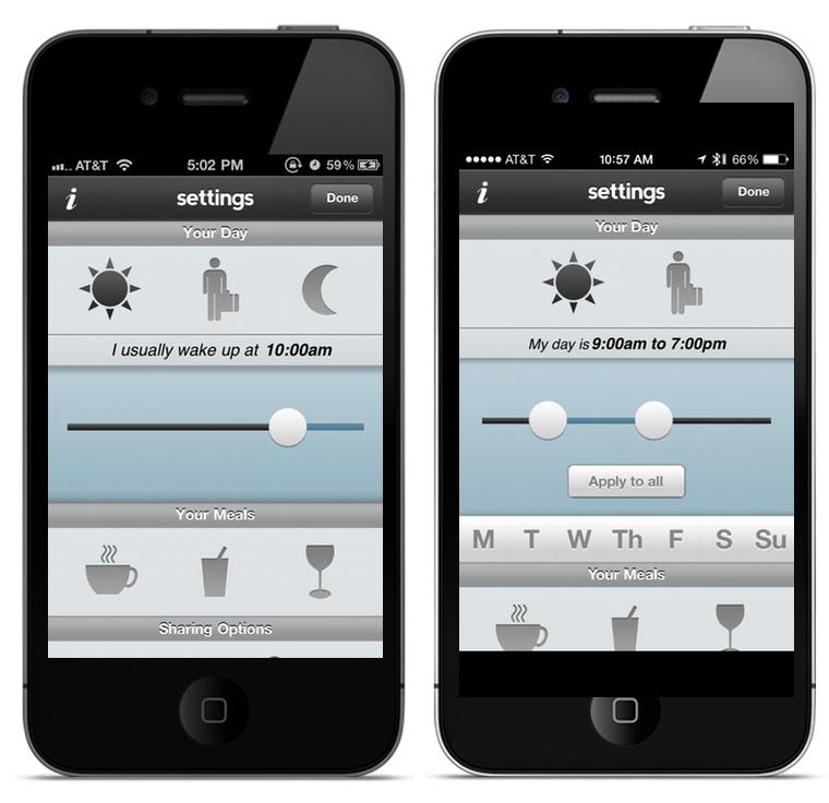 왼쪽 화면은 앱을 출시했을 때의 버전이고 오른쪽 화면은 특정한 날짜에 변화를 줄 수 있도록 한 단순화시킨 UI다.
