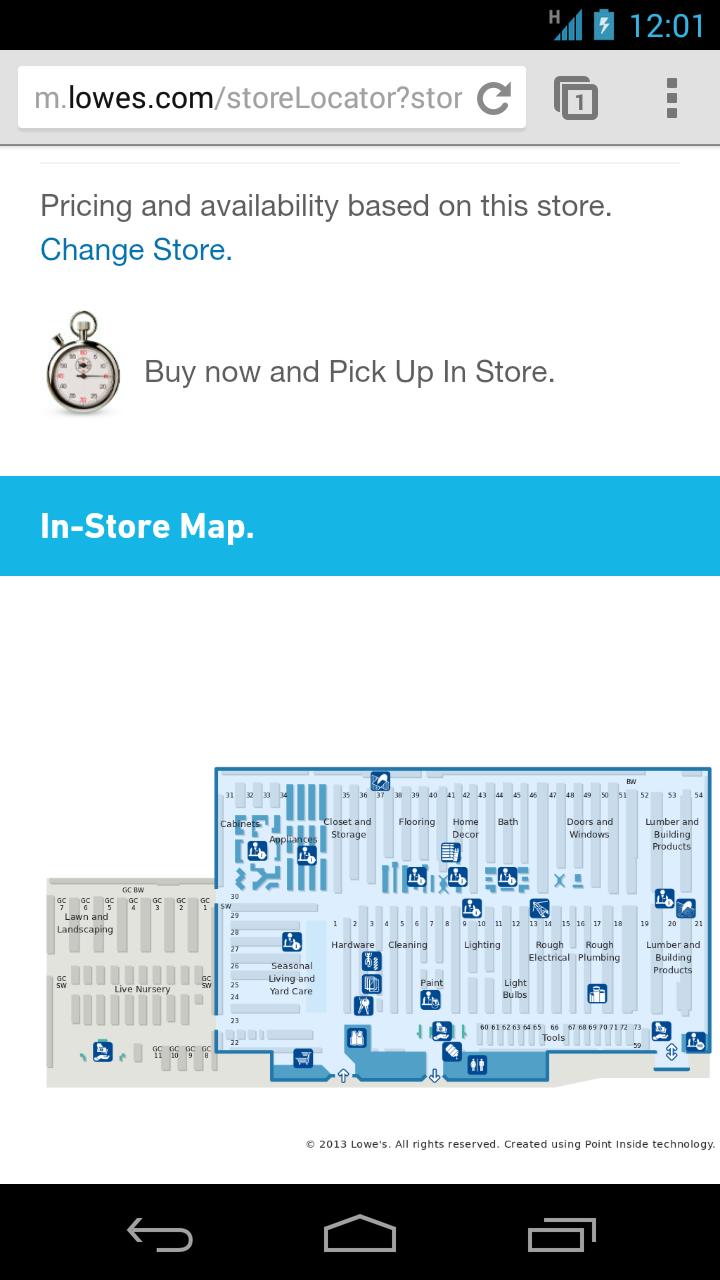 로우스의 모바일 웹사이트에서는 매장 위치와 관련한 매장 내 지도를 제공한다.